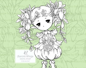 PNG Honeysuckle Sprite - Aurora Wings Digital Stamp - Sweet Flower Fairy - Fantasy Line Art for Arts and Crafts by Mitzi Sato-Wiuff