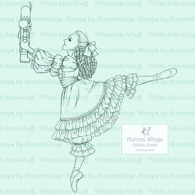 digistamp Holiday Line Art for Cards /& Crafts Clara in Arabesque with a Nutcracker PNG Digital Stamp The Nutcracker Ballet Clara