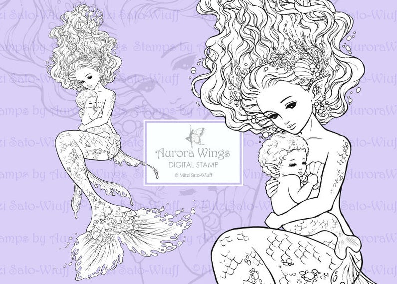 4686b62572ee6 PNG Digital Stamp Instant Download Mermaid and Her Baby