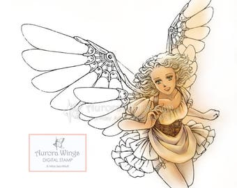 Digital Stamp - Instant Download - Steampunk Angel and Owl 2-Pack - digistamp - Fantasy Line Art for Cards & Crafts by Mitzi Sato-Wiuff