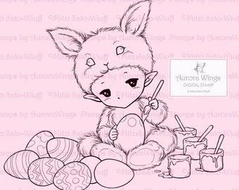 Easter Bunny Sprite - Aurora Wings Digital Stamp - Little Bunny Coloring Eggs - Fantasy Line Art for Arts and Crafts by Mitzi Sato-Wiuff