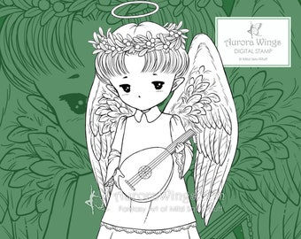PNG Lute Angel Sprite - Whimsical Holiday Christmas Angel - Digital Stamp - Coloring Page - Fantasy Art of Mitzi Sato-Wiuff - Aurora Wings