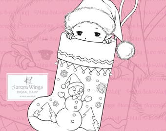 PNG Stocking Sprite - Aurora Wings Digital Stamp - Christmas Holiday Fairy Image - Fantasy Line Art for Arts and Crafts by Mitzi Sato-Wiuff