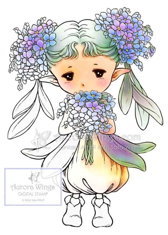Coloriage Fleur Myosotis.Myosotis Sprite Aurora Ailes Timbre Numerique Fee Mignonne Etsy
