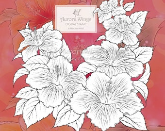 PNG Digital Stamp - Instant Download - Hibiscus - Tropical Flowers - Beautiful Floral Line Art for Cards & Crafts by Mitzi Sato-Wiuff