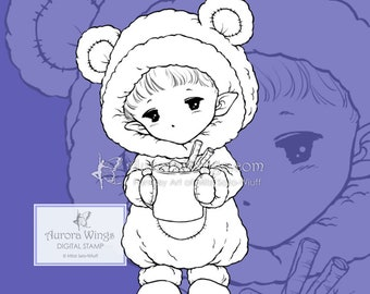 PNG Hot Cocoa Sprite - Aurora Wings Digital Stamp - Christmas Holiday Fairy Image - Fantasy Line Art for Arts and Crafts by Mitzi Sato-Wiuff