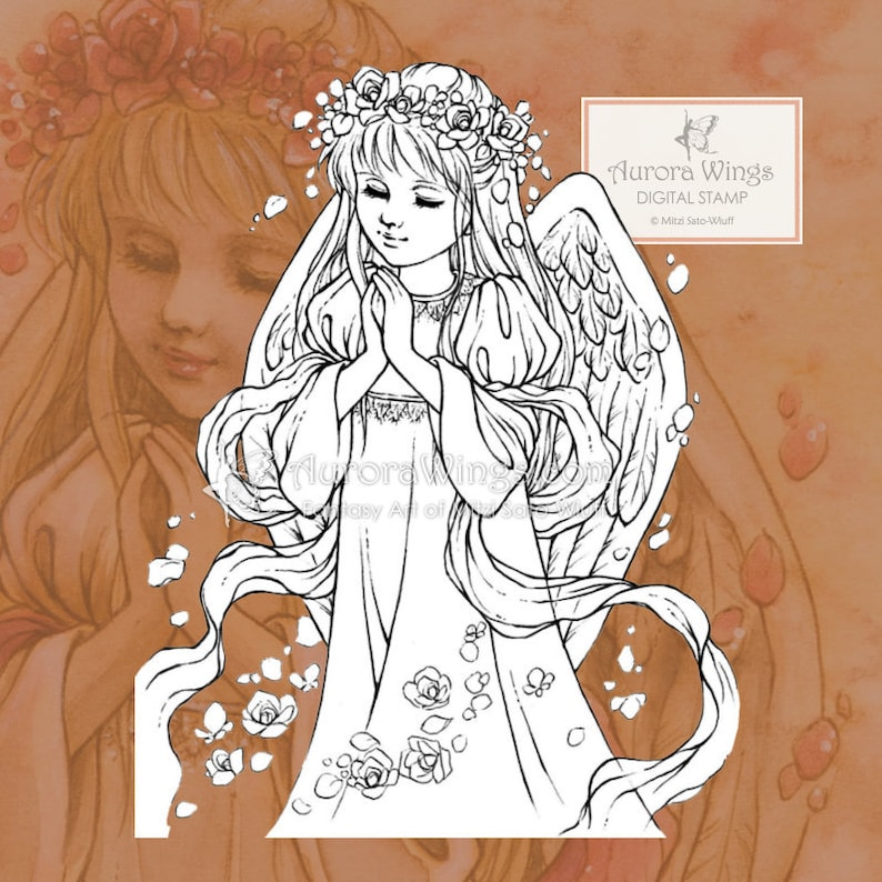PNG Digital Stamp  Instant Download  Rose Angel  digistamp image 0
