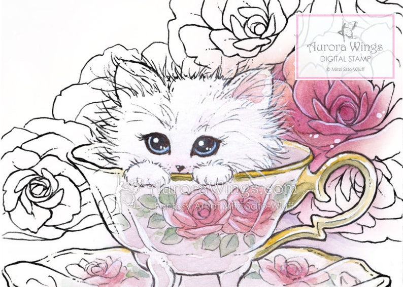 2773068cdb007 Digital Stamp Instant Download Kitten in a Teacup Cat