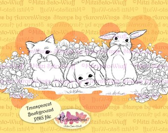 PNG Digital Stamp - The Three Whiskerteers Fancy Version with Flowers - Animal Line Art for Cards & Crafts by Mitzi Sato-Wiuff