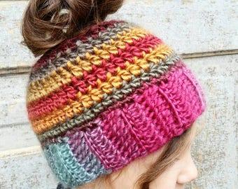 Ponytail Hat Crochet *PATTERN* Messy Bun Beanie Pattern. FREE bonus Crochet Pattern with purchase. Toboggan Crochet Pattern