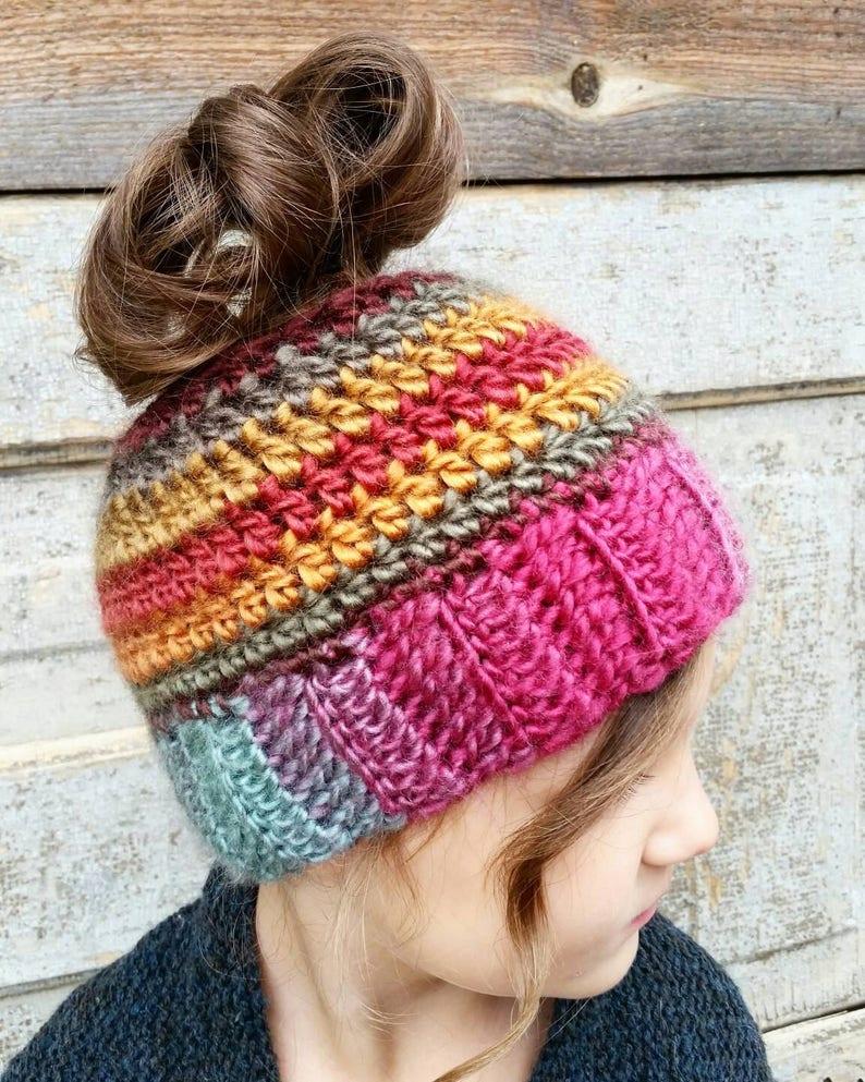 Ponytail Hat Crochet Pattern Messy Bun Beanie Pattern Free Etsy