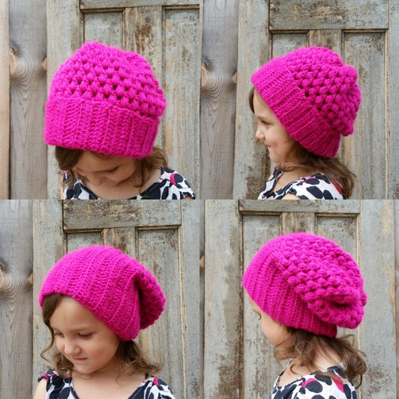 Puff Stitch Crochet Convertible Hat Pattern Slouchy Hat Etsy