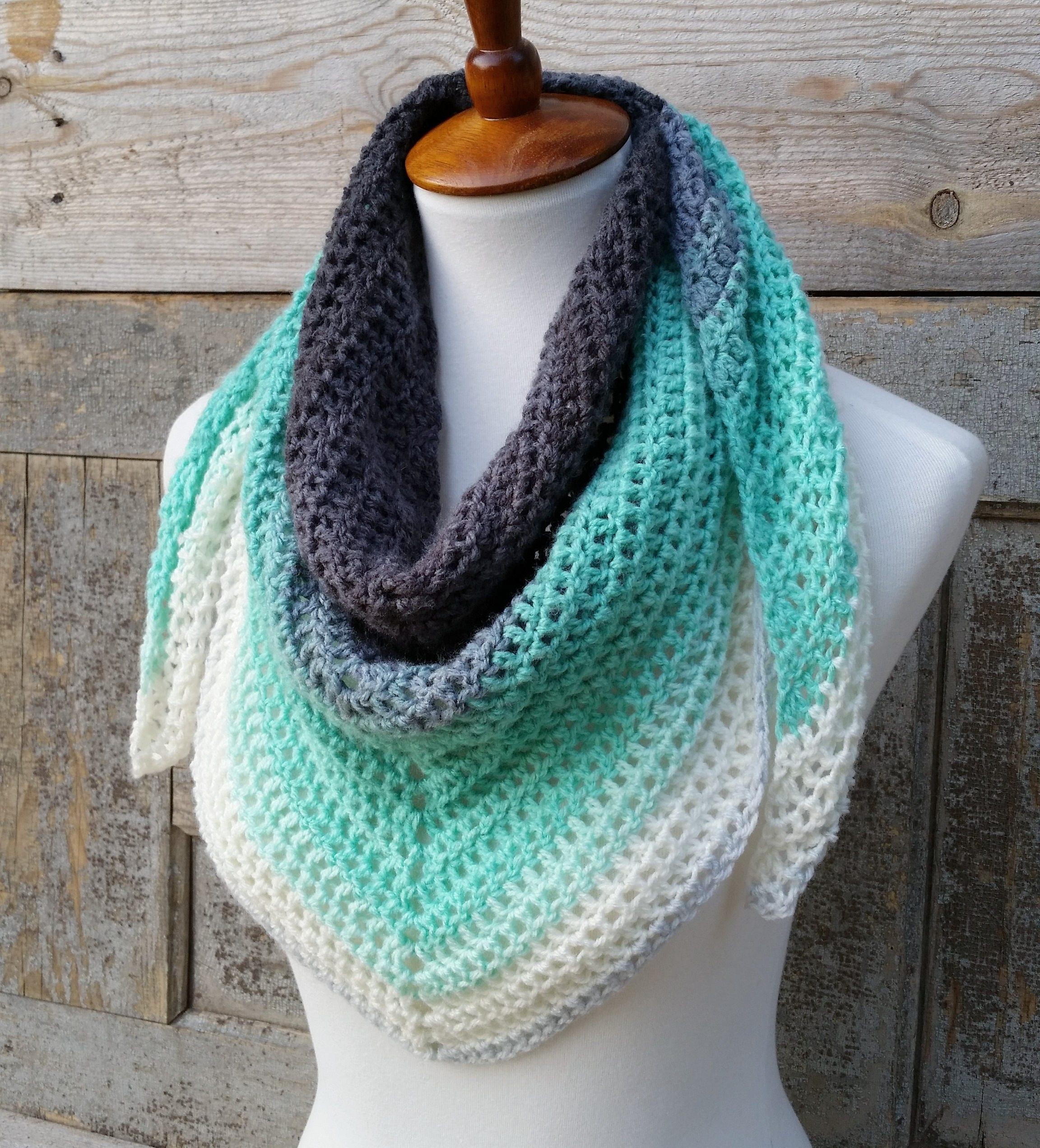 Mandala Triangle Scarf Crochet Pattern One Skein Crochet