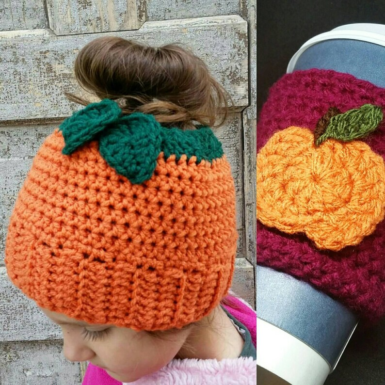 Pumpkin Spice Messy Bun Hat Crochet Pattern With Free Coffee Etsy