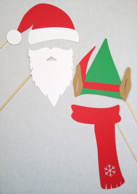 2e8e6c84bfe39 Christmas Photo Booth Props Santa and Elf Set Holiday