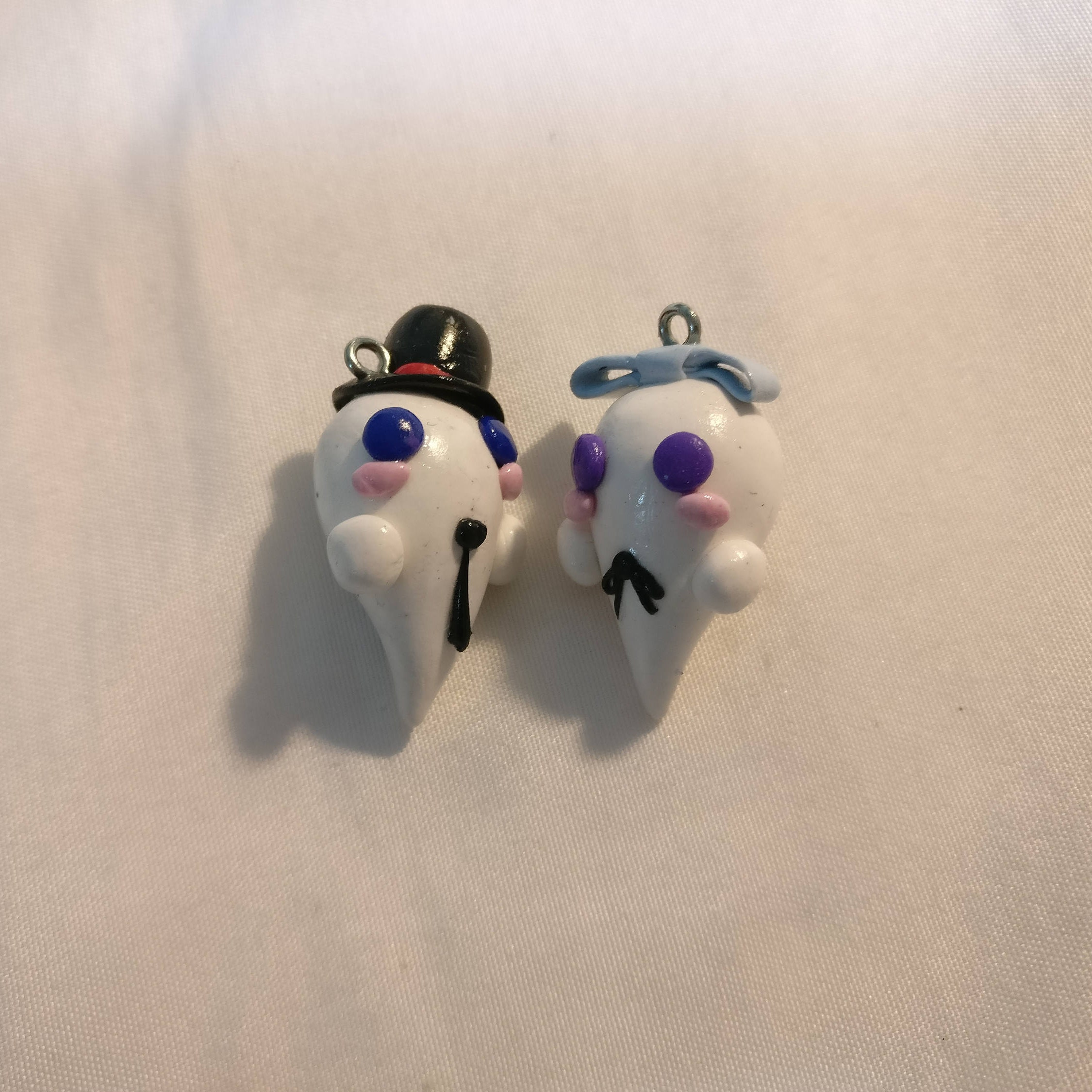 2 halloween miniature ghost polymer clay charms   etsy