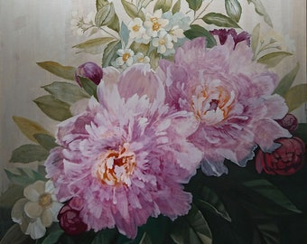 Large Pink Peonies Painting