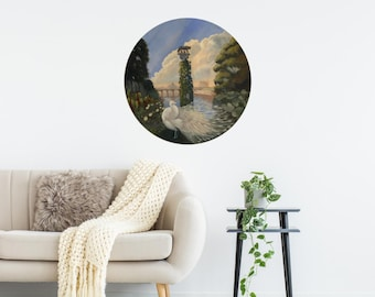 Original Round Painting of Tiber River in Rome