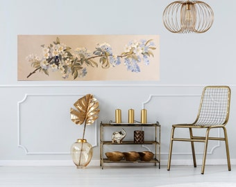 One of a Kind Apple Blossoms & Bird Decorative Painting for your Home