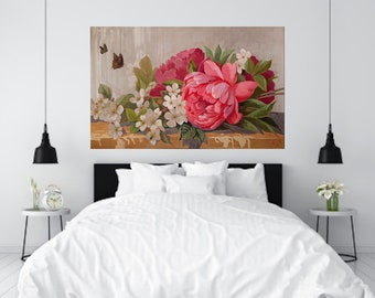 One of a Kind Large Wedding Flowers Decorative Painting for your Home