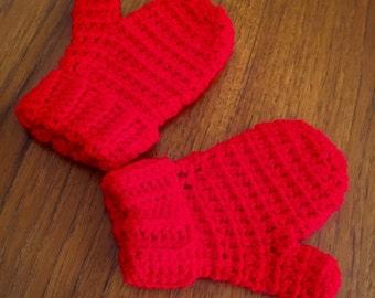 Red Children's Mittens, Gloves, Crochet, Children, Toddler, Size  2 - 4 Years, Kids, Handmade, Ready To Ship, Winter, Wool, Unisex