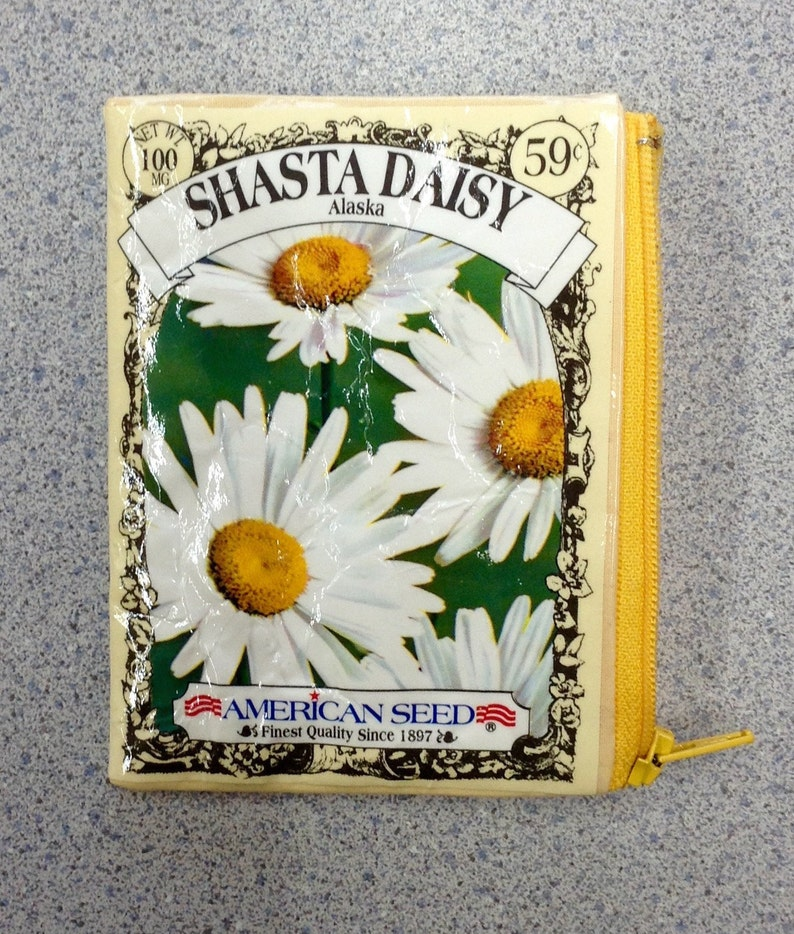 Daisy Seed Packet Coin Purse Upcycled Shasta Daisy Flower Seed Packet Zippered Pouch Best Friend Groovy Gift Idea