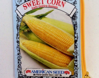 Upcycled Sweet Corn (Early Golden Bantam) Seed Packet Coin Purse -  Booya or State Fair Gift Idea