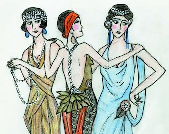 Deco Girls - Art Print