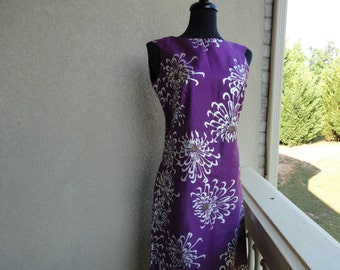 Alfred Shaheen Purple Dress With Metallic Flowers