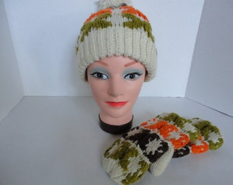 Vintage Knitted Hat and Mittens Set
