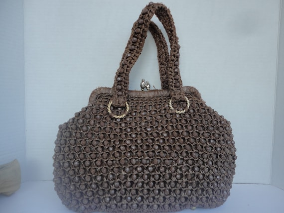 Marchioness Brown Beaded Purse