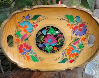 Wooden Hand Painted Mexican Tray