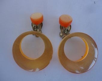 Orange Clip On Earrings