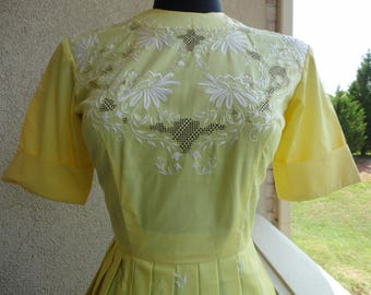 Yellow Embroidered Day Dress