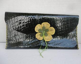 Green Alligator Embossed Clutch With Flower Appliqué
