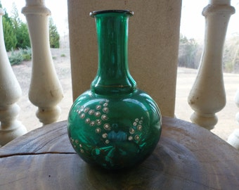 Hand Painted Green Vase
