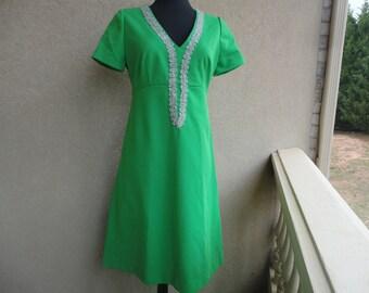 Green Dress With Silver Metallic Trim