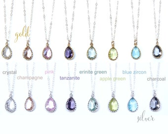 Glass Teardrop Necklace Bridesmaids Gift Bridesmaids Necklace Glass Teardrop Set Crystal Champagne Erinite Blue Zircon Tanzanite Charcoal