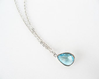 Aquamarine glass teardrop necklace Silver and aqua necklace Blue bridesmaids necklace Aqua bridesmaids jewelry Blue bridesmaids set