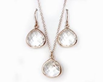Rose Gold Set Crystal Clear Teardrop Earrings and Necklace Rose Gold Bridesmaids Set Rose Gold Bridal Set Clear Bride Earrings Rose Gold Set