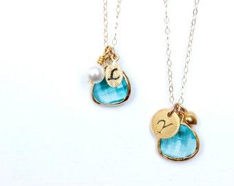 Blue Zircon Necklace Turquoise Necklace Customizable Necklace Turquoise Bridesmaid Necklace Customizable Bridesmaid Jewelry Initial Necklace