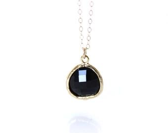 Black Necklace Black Onyx Necklace Black Glass drop necklace Black Bridesmaids, Gold and Black Necklace Black Jewelry Set
