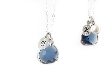 Navy Blue bridesmaids necklace Silver and Navy Necklace Blue Glass Necklace Navy Bridesmaids Customizable Necklace Initial necklace Montana