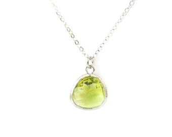 Apple green glass necklace. Glass drop necklace. Silver green necklace. Apple green necklace. Dainty green necklace Apple green bridesmaids