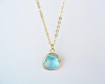 Aquamarine glass bridesmaids necklace Gold glass drop necklace Aqua glass necklace Aqua blue necklace Aqua bridesmaids, blue bridesmaids