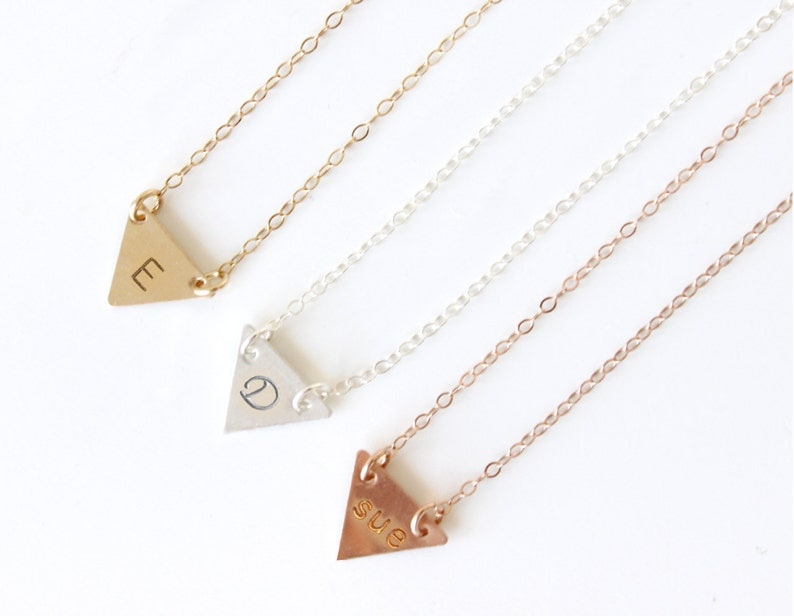 Personalized Triangle Necklace  Initial Triangle Plate Necklace  Layering Necklace  Personalised Necklace  Gold Triangle Necklace