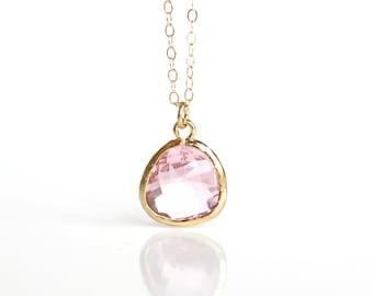 Crystal Pink Necklace Pink bridesmaids necklace, blush bridesmaids necklace Clear Pink Necklace Pink bridesmaids set