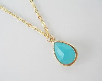 Turquoise teardrop necklace Mint blue necklace Glass teardrop necklace Teal bridesmaids necklaces Aqua blue necklace Mint blue bridesmaid