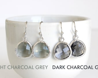 Charcoal Grey Earrings, Silver Gray Earrings Light Charcoal Earrings Grey Glass Earrings Gray Bridesmaids Earrings Grey Bridal Jewelry