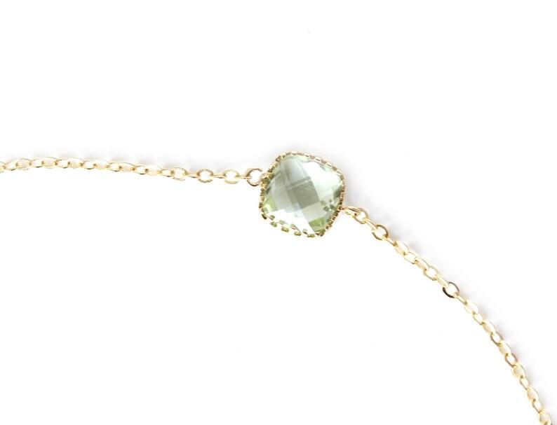 Chrysolite Bracelet  Faux Peridot Green Bracelet  August Birthstone Bracelet  Mint Bridesmaid Green Stone Bracelet  Mint Jewel Bracelet